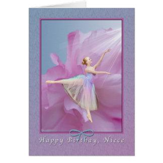 Aniversário, sobrinha, bailarina no rosa e azul cartoes