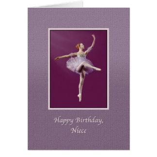 Aniversário, sobrinha, bailarina no roxo cartão comemorativo