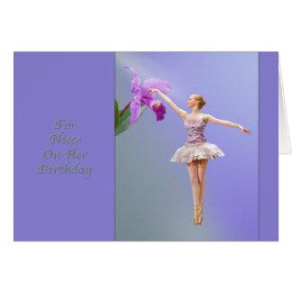 Aniversário, sobrinha, bailarina, orquídea cartão comemorativo