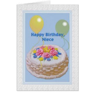 Aniversário, sobrinha, bolo e balões cartão comemorativo