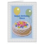 Aniversário, sobrinha, bolo e balões cartoes