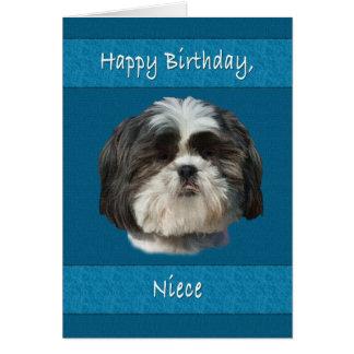Aniversário, sobrinha, cão de Shih Tzu Cartão