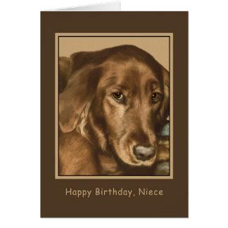 Aniversário, sobrinha, cão irlandês dourado cartão comemorativo