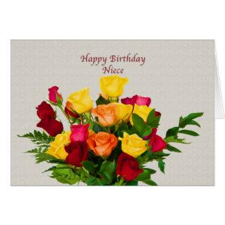 Aniversário, sobrinha, cartão cor-de-rosa do buquê