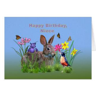 Aniversário, sobrinha, coelho, borboletas, pisco cartão comemorativo