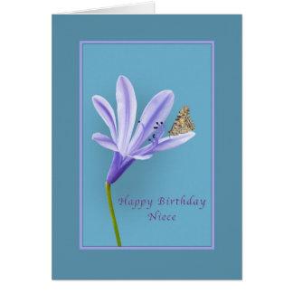 Aniversário, sobrinha, flor do hemerocallis e borb cartoes