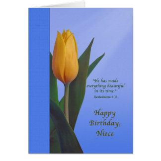 Aniversário, sobrinha, flor dourada da tulipa cartão comemorativo