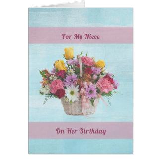 Aniversário, sobrinha, flores coloridas em uma cartoes