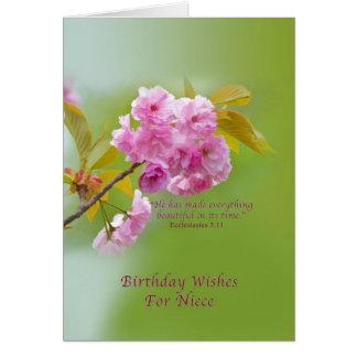 Aniversário, sobrinha, flores de cerejeira, religi cartão