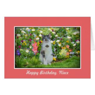 Aniversário, sobrinha, gato entre as flores cartão comemorativo