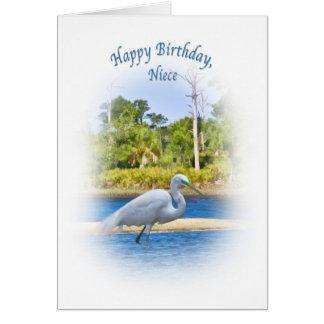 Aniversário, sobrinha, grande Egret Cartao