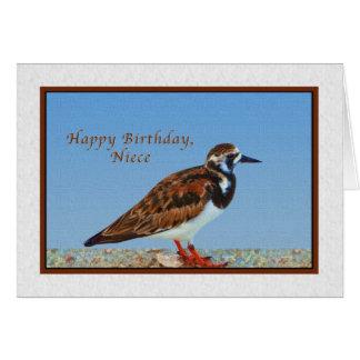 Aniversário, sobrinha, pássaro do Turnstone corado Cartão Comemorativo