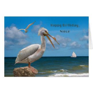 Aniversário, sobrinha, pelicano branco em uma cartão comemorativo