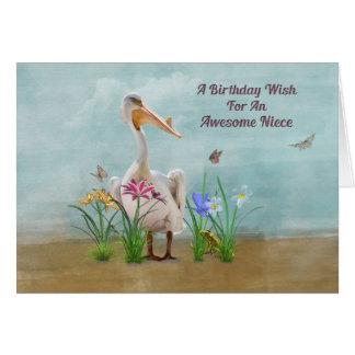 Aniversário, sobrinha, pelicano, flores e cartão comemorativo