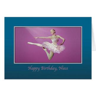 Aniversário, sobrinha, pulando a bailarina, o rosa cartoes