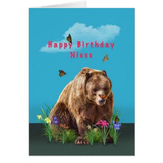 Aniversário, sobrinha, urso e borboletas cartão