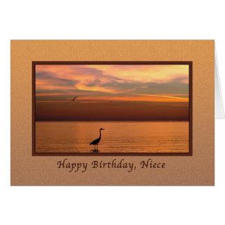 Aniversário, sobrinha, vista para o mar no por do cartão comemorativo