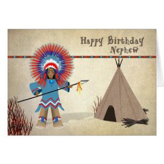 Aniversário - sobrinho - cartão indiano nativo do