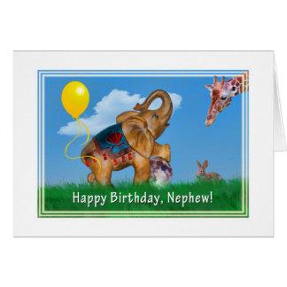 Aniversário, sobrinho, elefante, girafa cartão