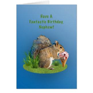 Aniversário, sobrinho, esquilo com cone do sorvete cartão