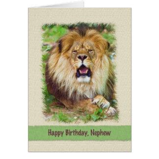 Aniversário, sobrinho, leão cartões
