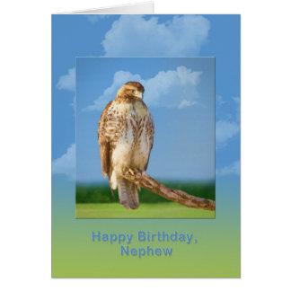 Aniversário, sobrinho, pássaro equipado com pernas cartões