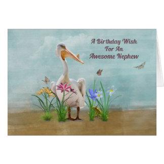 Aniversário, sobrinho, pelicano, flores e cartão comemorativo