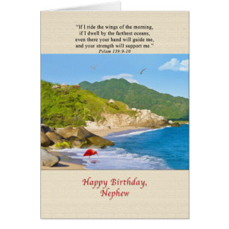 Aniversário, sobrinho, praia, colinas, pássaros, o cartão