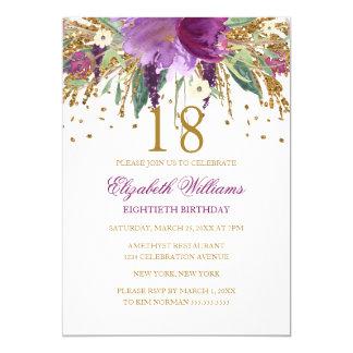 Aniversário Sparkling da ametista do brilho floral Convite 12.7 X 17.78cm