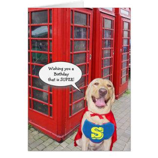 Aniversário super engraçado do cão/laboratório cartão comemorativo