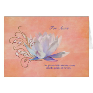 Aniversário, tia, lírio de água, religioso cartões
