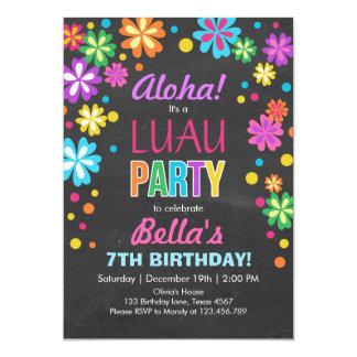 Aniversário tropical do convite de festas de Luau