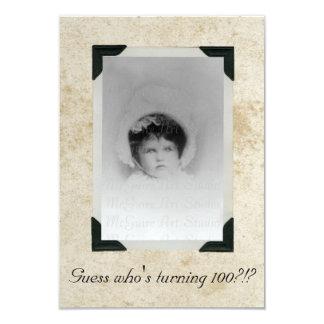Aniversário velho de papel manchado da foto convite 8.89 x 12.7cm
