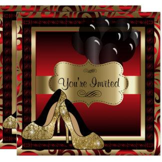 Aniversário | vermelho & convite dos saltos altos