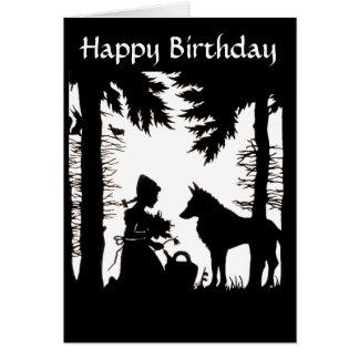 Aniversário vermelho das madeiras do lobo da capa cartão comemorativo