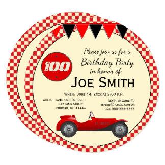 Aniversário vermelho do carro de corridas e das convite quadrado 13.35 x 13.35cm