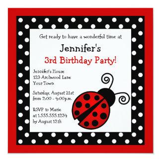 Aniversário vermelho do joaninha - bolinhas preto convite quadrado 13.35 x 13.35cm