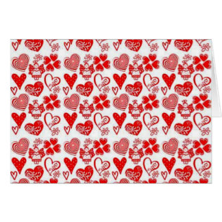 anjinhos dos corações e de COM do padrão Cartão Comemorativo