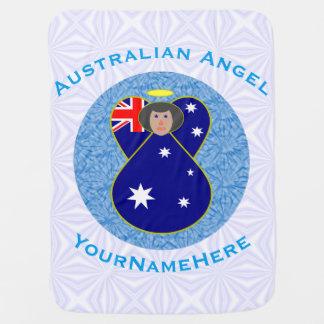 Anjo australiano no quadrado Squiggly branco e Cobertores De Bebe