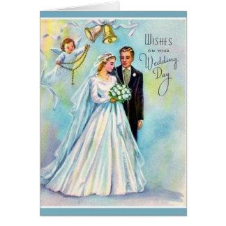 Anjo católico do noivo da noiva do rosário do cartão comemorativo