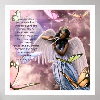 Anjo com as borboletas que pintam impressões