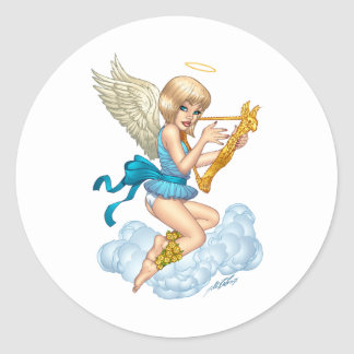 Anjo com halo e harpa do ouro pelo Al Rio Adesivo