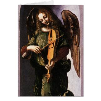 Anjo com o Vielle pelo Natal de Leonardo da Vinci Cartão