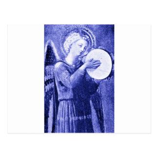 Anjo com pandeiro cartão postal