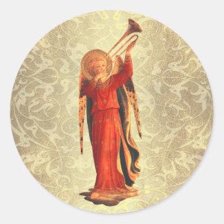 Anjo com trombeta adesivo em formato redondo