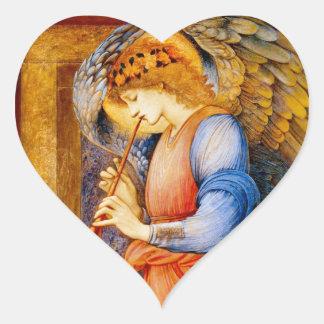 Anjo com uma trombeta adesivo coração