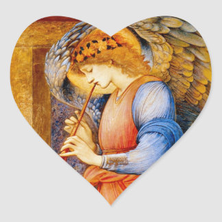 Anjo com uma trombeta adesivo em forma de coração