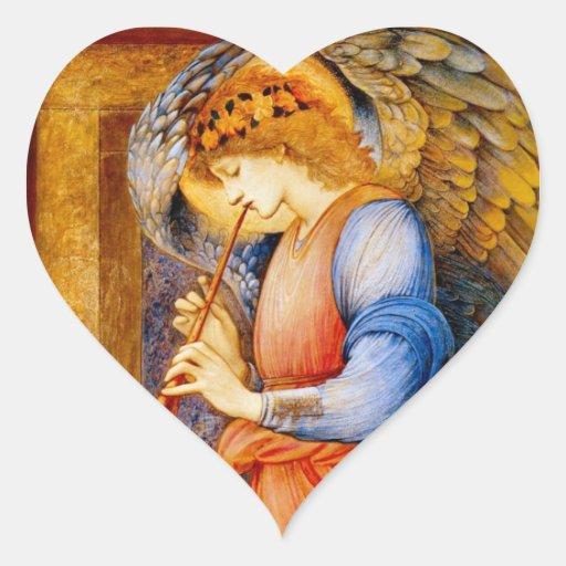 Anjo com uma trombeta adesivo de coração