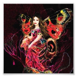 Anjo da borboleta do coração impressão de foto