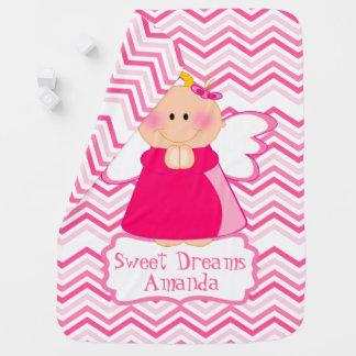Anjo-da-guarda cor-de-rosa cobertorzinhos para bebe